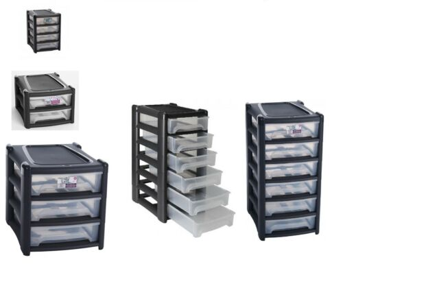 2 3 4 6 Shallow Drawer Storage Unit Cabinet Office Bedroom Organizer Tower