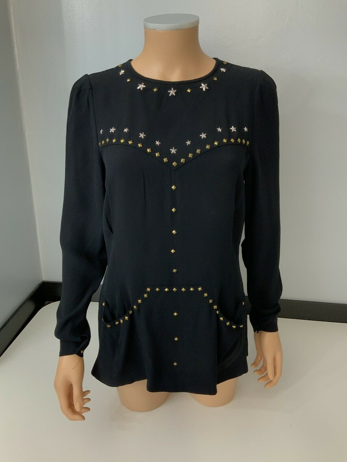 Isabel Marant Blouse Blouse Blouse Long Sleeve Größe 38 Uk 10 Long Sleeved VGC Studs 5c2