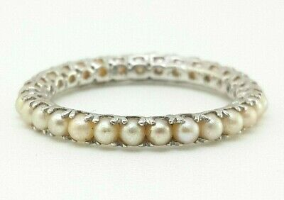 1g Sterling Silver 3mm THIN Classic Seed Pearl Eternity Wedding Band Ring sz 6