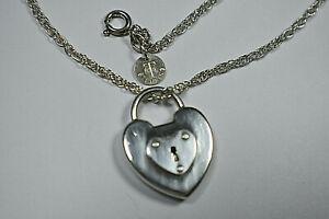 """Tiffany & Co 1"""" Silver Heart Emblem Padlock Lock Heavy Chain Necklace 18"""""""