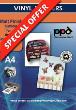 A4 Matt Vinilo Auto Adhesivo Etiqueta engomada de papel X 5 Hojas
