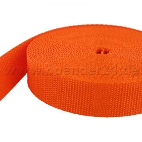 orange *Neuer Farbton* 1,4mm stark 10m PP Gurtband 20mm breit UV