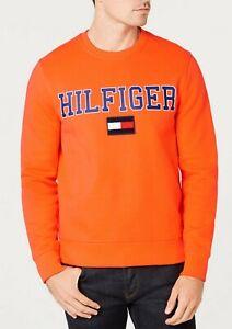 Sportschuhe bis zu 80% sparen Wählen Sie für offizielle Details about Tommy Hilfiger Men's Orange Collegiate Logo Fleece Pullover  Sweatshirt