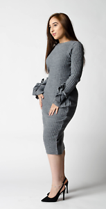 ex-ASOS-Grey-Knitted-Rib-Midi-Jumper-Dress-with-Knotted-Cuffs-RRP-32-Sizes-4-20
