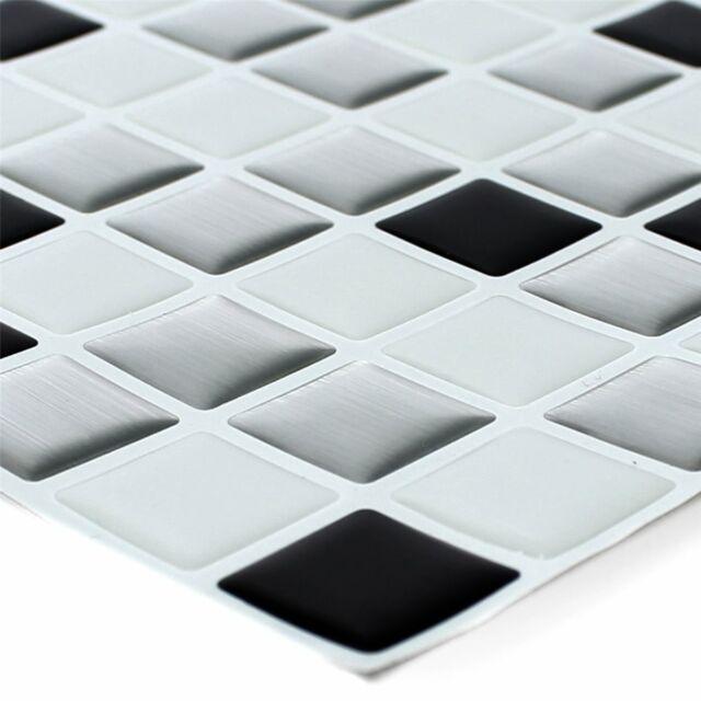 Mosaikfliesen Vinyl Selbstklebend Stäbchen Silber Schwarz