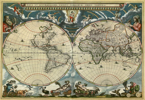 Mp46 Vintage 1664 Histórica Mapa Del Mundo Orbis Tabula volver a imprimir a1//a2//a3
