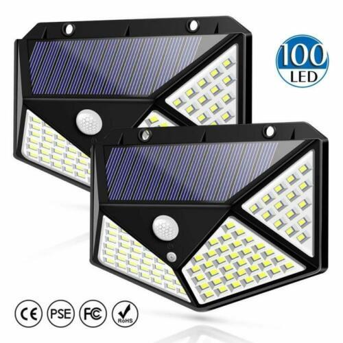 100LED Solarleuchte mit Bewegungsmelder Solarstrahler Außenleuchte Gartenlampe F