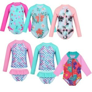 Baby-Kids-Girls-Long-Sleeves-Swimsuit-Swimwear-UV-Protection-Bathing-Rash-Guard