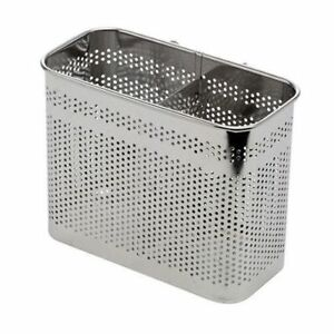2-Divided-Square-Stainless-Steel-Perforated-Cutlery-Basket-Sink-Rack-Storage