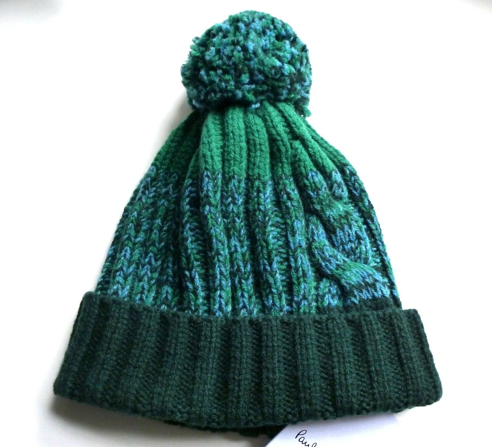 PAUL SMITH Forest Green100% Lambswool BOBBLE BEANIE Toque  Hat MADE IN SCOTLAND  classic style
