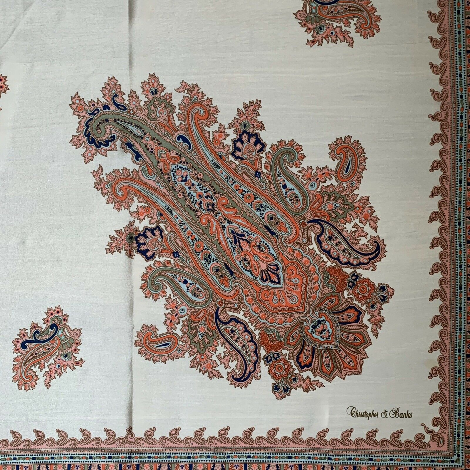 Christopher & Banks Square Paisley Beige Scarf 34… - image 3