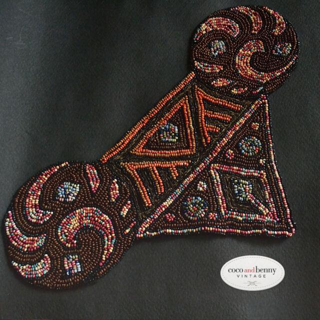 *Vintage 30's Piece of Hand Beaded Netting Embellishment