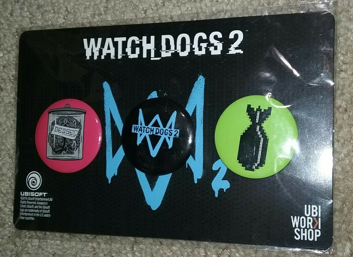 New Ubisoft Watch Dogs 2 Preorder Bonus Button Pin Set 2016 Gamestop Exclusive For Sale Online
