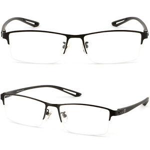 Leicht Herren Damen Brillengestell Titan Brillen Fassung Schwarz Silber Halbrand cxazl