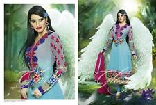 LONG ANARKALI DESIGNER PARTY DRESS - SKY BLUE CHURIDAR KAMEEZ SUIT - NEW 2015