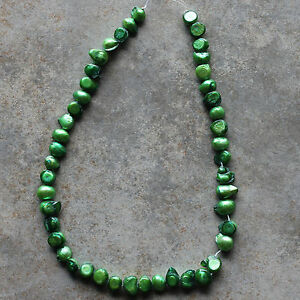 Fresh Water Pearl Waterdrop-shaped Green Beads Strand for crafting, jewelry