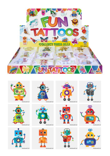 72 Robot Temporary Tattoos Pinata Toy Loot//Party Bag Fillers Wedding//Kids