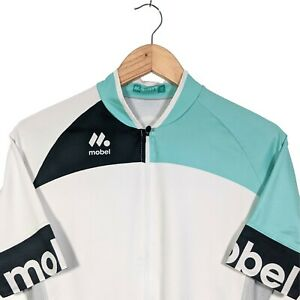 Mobel-White-amp-Mint-Green-Short-Sleeve-Full-Zip-Cycling-Jersey-Size-M