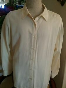 bean Shirt l Size L Yellow Xl Light Long Sleeve top Down Button Soft 5Awx8qOwH