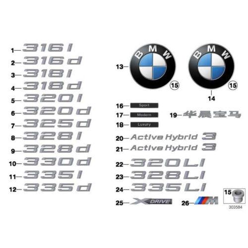 ORIGINALE BMW 51147294500-LOGO LATERALE LUXURY LINE 3er 4er 5er