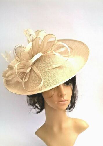 Champagne lurex sparkle Feather Hatinator disc turned up brim Wedding.races.new