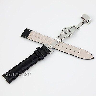 Alligator Grain Leather Push Button Deployment Clasp Watch Band Strap Black