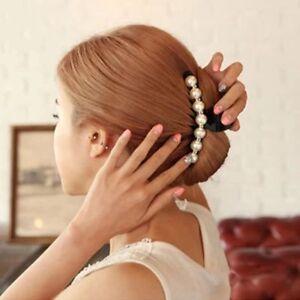 Mode-Kristall-Zubehoer-Haarklammer-Schwarze-Klaue-Kopfschmuck-Perle-Hairpin