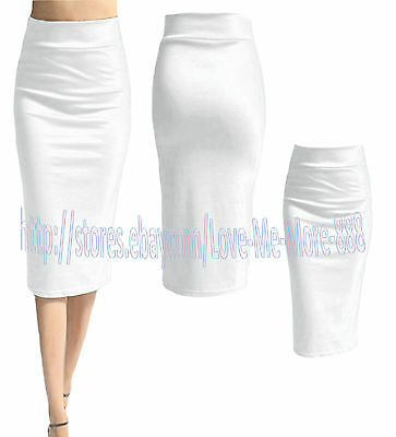 NEW Womens OL WEAR WORK business CASUAL Pencil Midi SKIRTS DRESSes S-4XL WHITE