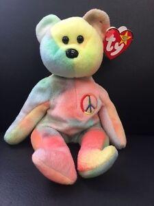 Peace Beanie Baby Rare Peace Bear Original collectible No Tag Errors ... d863199fa85