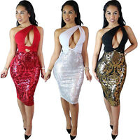 Sexy Women Party Cocktail Bandage Bodycon Dress one-shoulder Evening Clubwear
