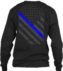 Thin-Blue-Line-Flag-Unisex-Gildan-Long-Sleeve-Tee-T-Shirt