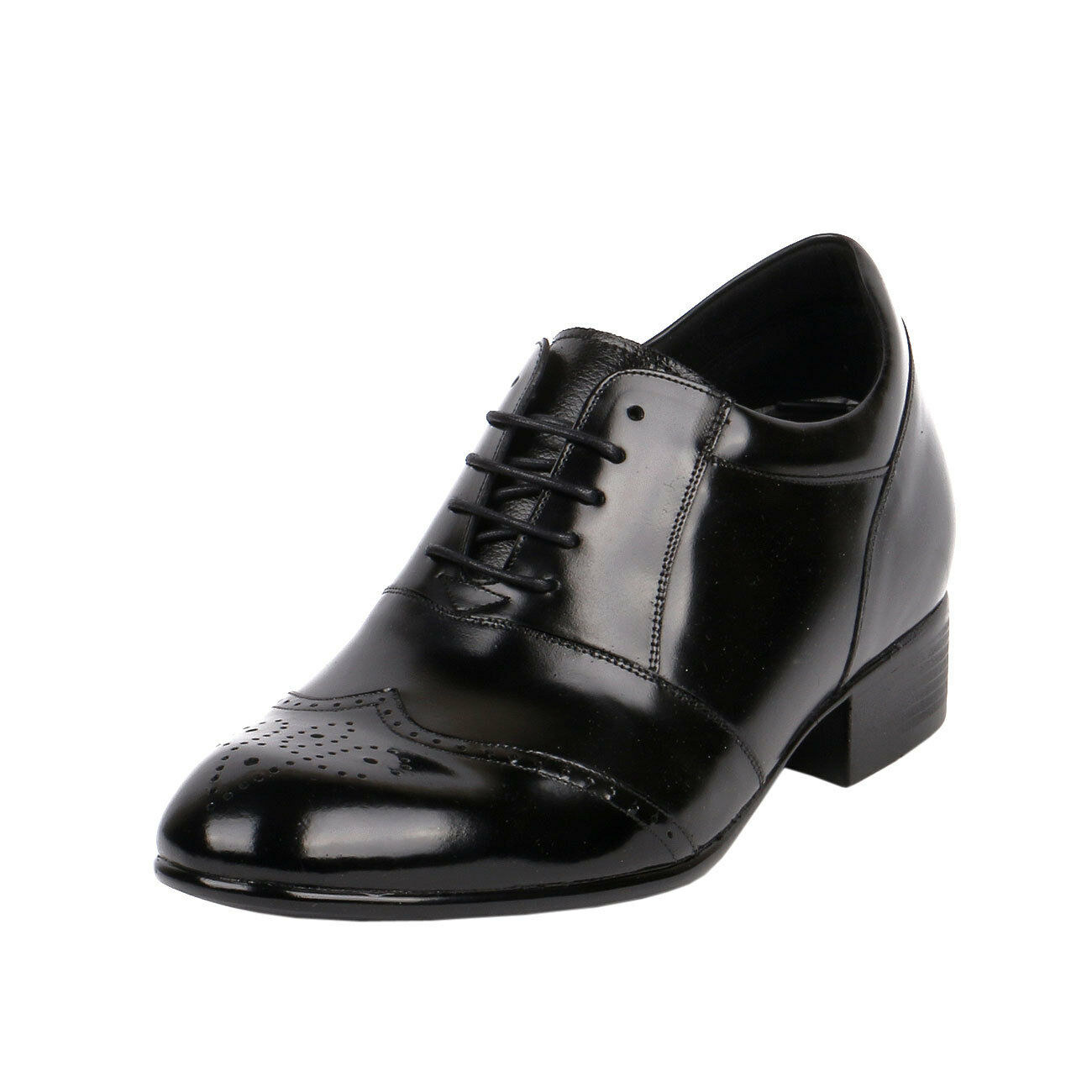 Semi Glossy Gentlemen Formal Wedding Tuxedo shoes Make 3  Extra Tall, KL609 (EE)