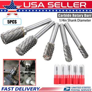 5x 1//4/'/' Double Cut Tungsten Steel Carbide Rotary Burr Die Grinder Shank Bit Set