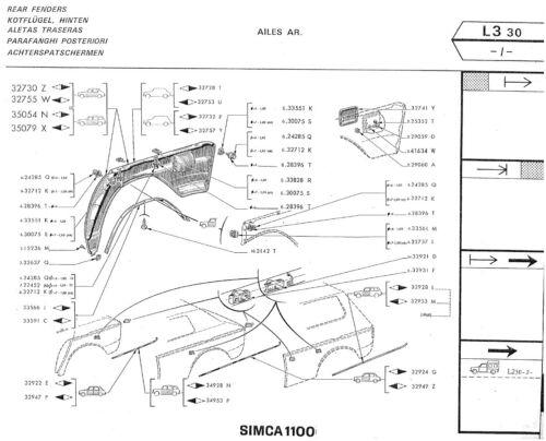 Jeu de 10 agrafes enjoliveurs ceinture de caisse Simca 1100