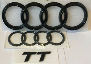 Audi-TT-MK2-Black-Gloss-Front-amp-Boot-Rings-Logo-Emblem-Set-Top-Quality