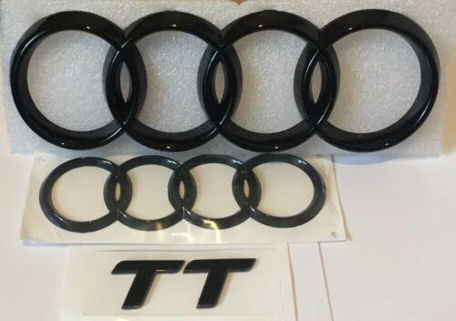 Audi TT Black Gloss Front & Boot Rings Logo Emblem Set Top Quality
