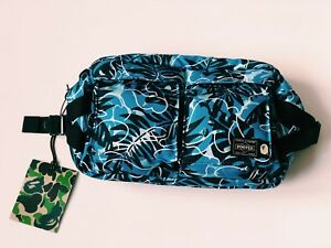 d6695b92331b A BATHING APE PORTER  TROPIC CAMO  WAIST BAG JAPAN BLUE BLACK BACK ...