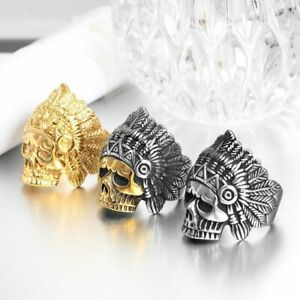 Men Hip Hop Indian Chief Skull Ring Gold Silver Stainless Steel Punk Biker Rings