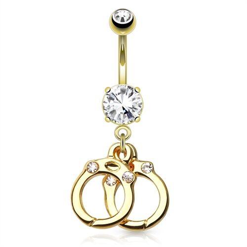 Bauchnabelpiercing mit Anhänger Handschellen 14 Karat vergoldet Gold Kristall