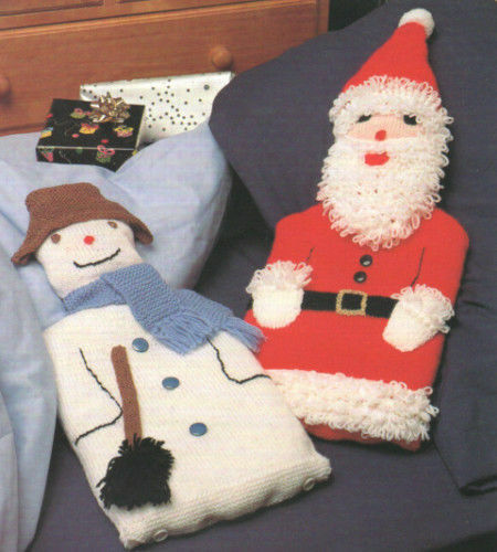 father christmas and snowman hot water bottle covers dk knitting pattern 99p