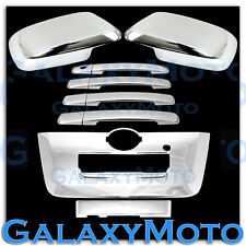 Triple Chrome Mirror+4 Door Handle+Full Tailgate Cover for 13-16 Nissan Frontier