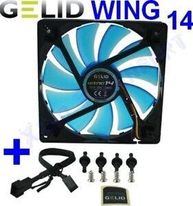 VENTOLA x CASE PC 140mm GELID WING 14 BLU FAN 140 x 25 UV BLUE 14cm 1200rpm 12V