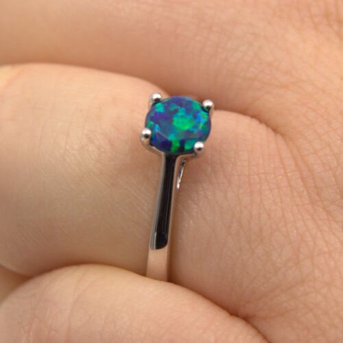 108 OP13 1ct Solitaire Engagement Ring Solid Silver Galaxy Opal