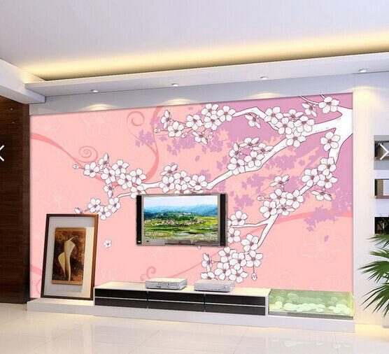 3D Weiße Blaumen, Bäume 66 Fototapeten Wandbild Fototapete BildTapete Familie DE