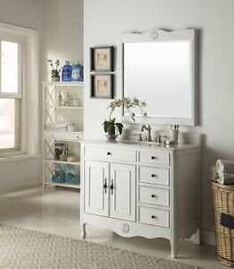 Details About 38 Benton Collection Distressed White Daleville Bathroom Sink Vanity Hf 837aw