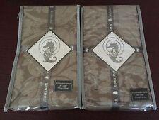 Set/2 Waterford BALLINA STANDARD Pillow Shams Pair Damask Taupe Silver NWT