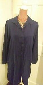 FAT FACE Navy Blue Shirt Dress arty style button fastening side pockets UK 14