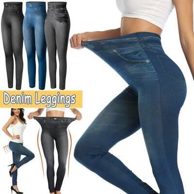 Women Faux Denim Jeans look Butterfly print Pencil Slim Leggings Jeggings Pants