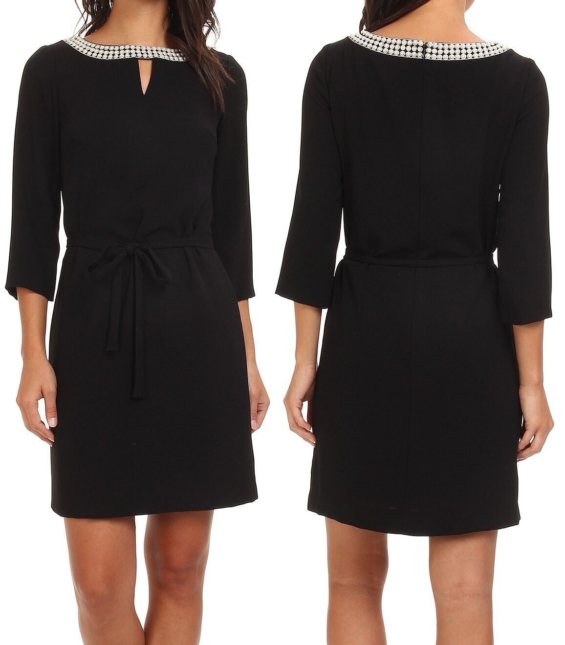 Tahari 4220M179 schwarz Pearl Neckline Crepe Shift Dress w Optional Belt 2R -