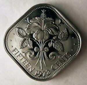 1972-Bahamas-15-Centavos-Bajo-Acunacion-Prueba-Moneda-Bin
